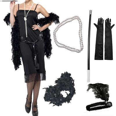 1920's Womens Flapper Charleston Accessory 5PCs Set Gatsby Fancy Dress Costume - Flapper Dress Accessories