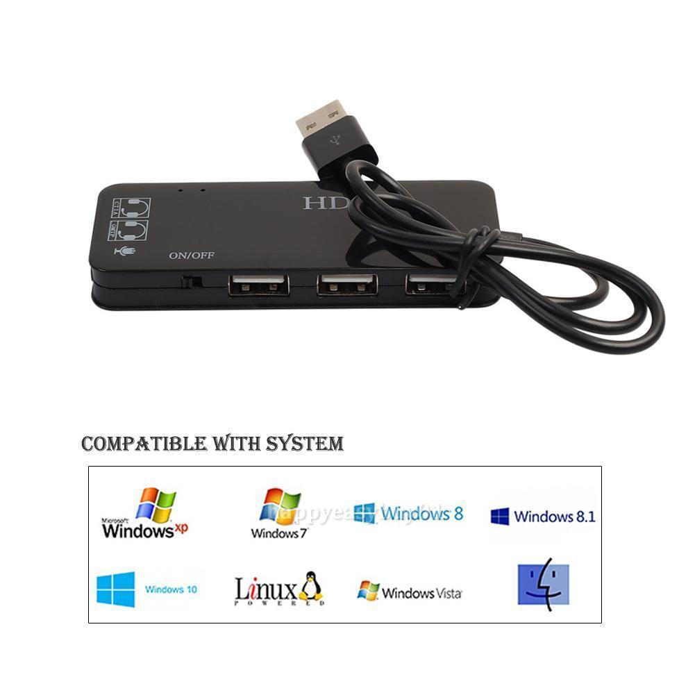 3 Port USB Hub w/ External Sound Card Headset Microphone Ada