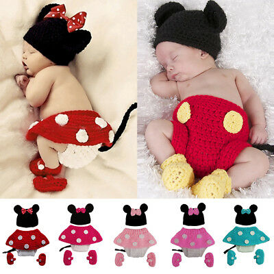 Mickey Minnie Maus Baby Häkelkostüm Strickkostüm Fotoshooting Mütze Hose Outfit  ()
