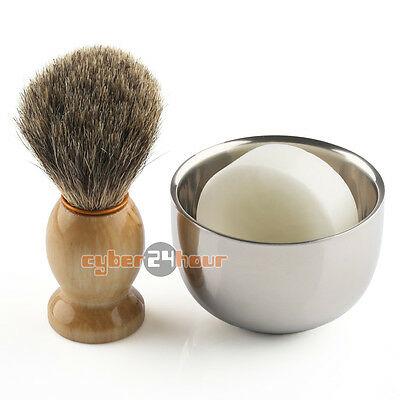 Best Badger Shaving Set (Men's Shaving Set Best Badger Hair Brush + Stainless Steel Mug Bowl Cup +)
