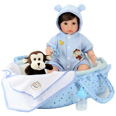 Reborn Baby Doll 18 inch Lifelike Baby Boy Doll with Monkey Gift Sets 8-Piece