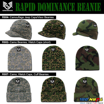 Rapid Camo Visor Long Short Beanie Cap Hat Knit Ski Hunting Army Military -