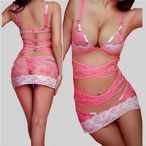 Sexy-Women-Babydoll-Lingerie-Mini-Dress-Open-Bra-G-String-Sleepwear-Nightwear