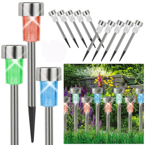 10pcs Stainless Steel Waterproof LED Solar Lawn Lights Outdoor Garden Decorative Home & Garden