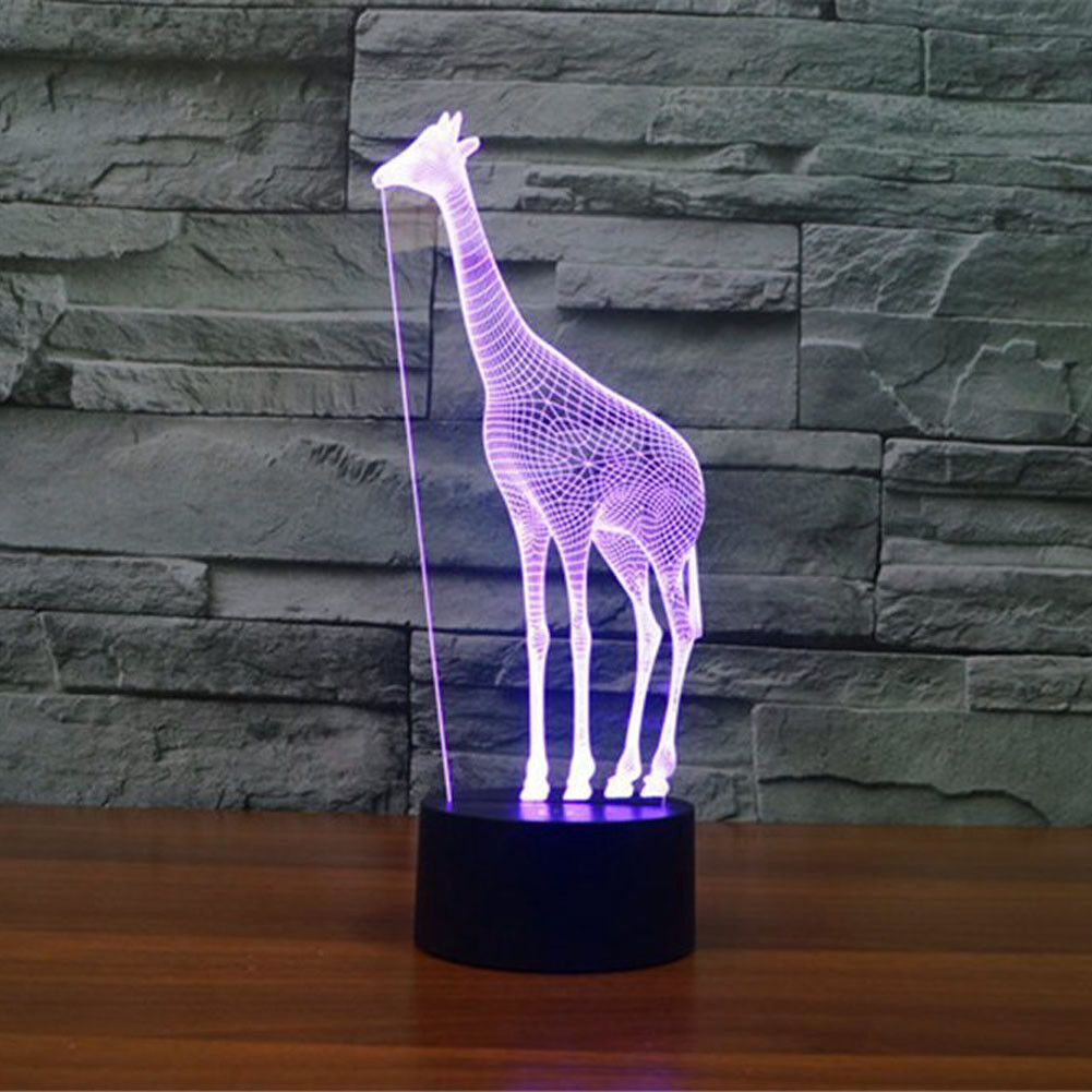 Night Light Funny Giraffe 7 Color Changing Illusion Abstract 3D for Modern Decor