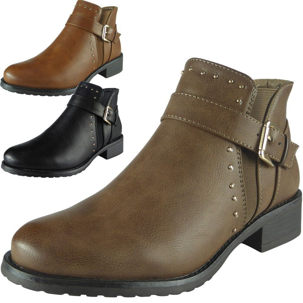 cb207f06ca63 Details about Womens Ladies Studs Buckle Strap Chelsea Booties Low Heel  Ankle Boots Shoes Size