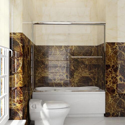 """SUNNY SHOWER 60""""W Semi-Frameless Bypass Sliding Shower Tub Doors Brushed Nickel"""