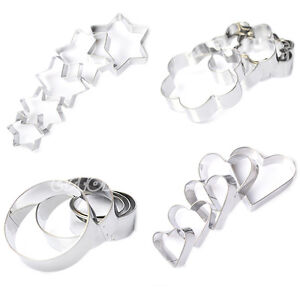 20pc Stainless Star Heart Flower Fruit Cutter Cookie Sporting Shape Biscuit Mold
