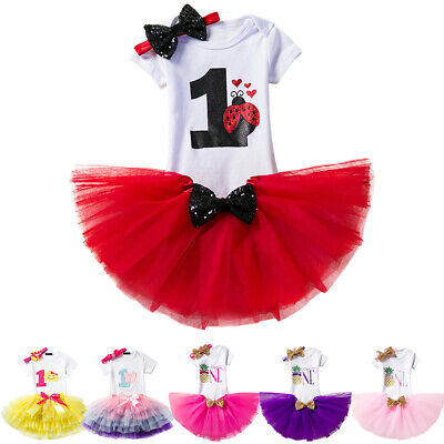 Baby Girls 1st Birthday Romper Tutu Skirt Dress Cake Smash Outfits Photo Costume