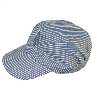 Engineer Train Hat Adjustable Soft BLUE Striped Railroad Conductor Costume Cap