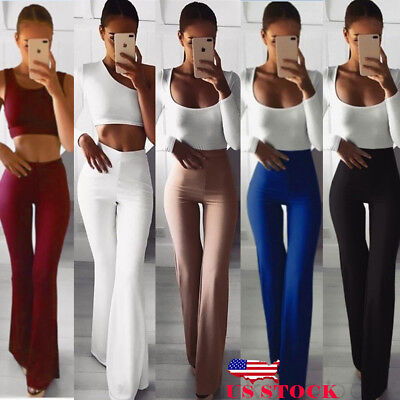 US Women Solid High Waist Flare Wide Leg Chic Trousers Bell Bottom Yoga Pants](Womens Bell Bottoms)