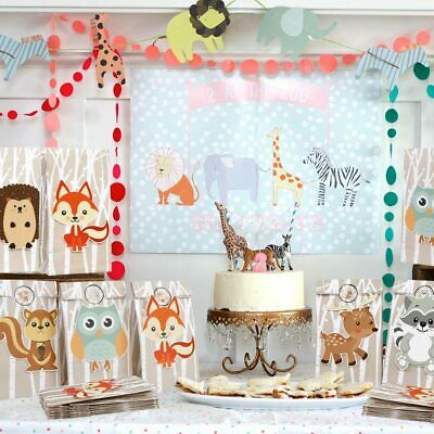48×Animal Paper Gift Bag Candy Bag Woodland Birthday Party Wedding Favours - Paper Bag Animals