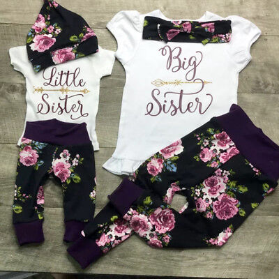 USA Sister Match Big Little Sister Girl T-shirt Romper Top+ Pants Outfit Clothes