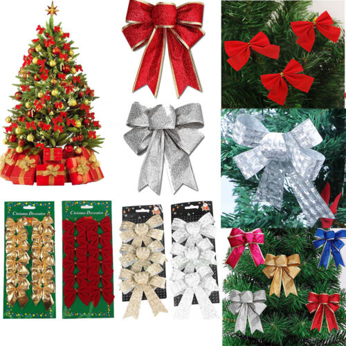 12//24Pcs Bowknot Xmas Tree Ornament Bow Hanging Decoration Christmas Gift Decor
