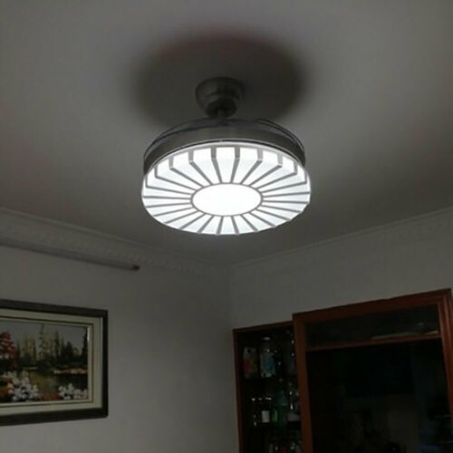 Invisible Crystal Fan Light Lamp Ceiling Light 4 Blades 3 Speed +Remote Control 7