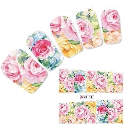 Tattoo Nail Art Bunt Flower Aufkleber Blumen Colorful Water Decall Neu! ()