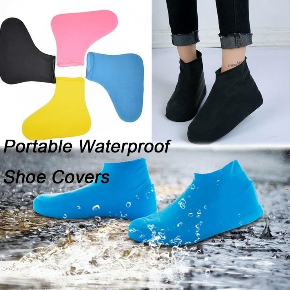 Silicone Waterproof Zipper Shoe Covers Rain Boot Reusable Non-slip  Oversh w//