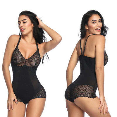 - Women Full Body Shaper Adjustable Lace Bodysuit Firm Tummy Control Girdle Corset