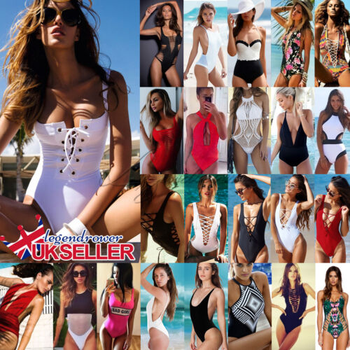 UK Womens One Piece Swimwear Bikini Push Up Bandage Monokini Padded Swimsuit