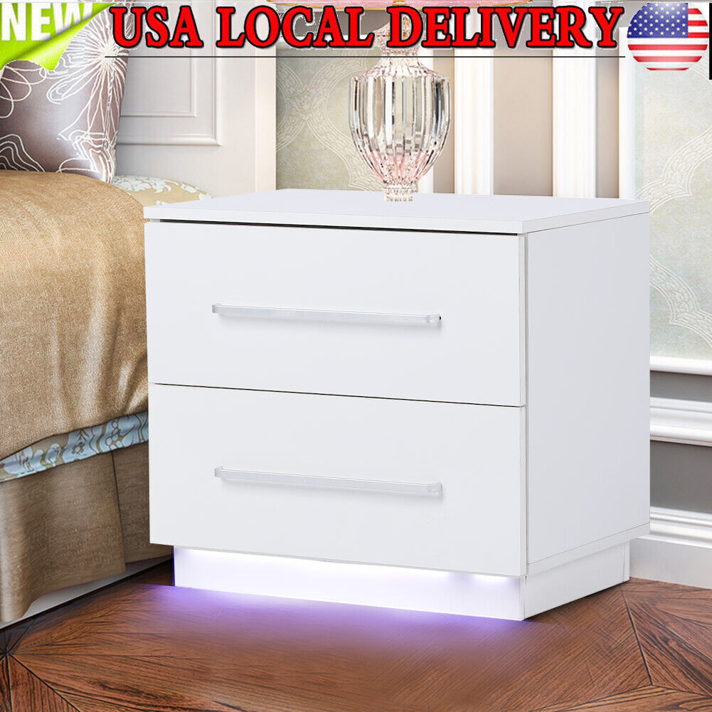 FREE LED !! // High Gloss White Chest of Drawers 4 drawers