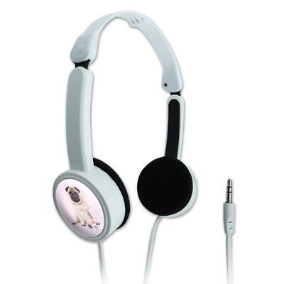 Pug Puppy Dog with Angel Wings Pink Travel Portable On-Ear Foldable Headphones
