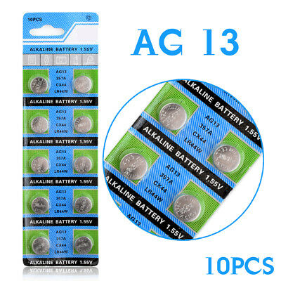 10Pcs AG13 LR44 357A S76E G13 Button Coin Cell Battery Batteries 1.55V...