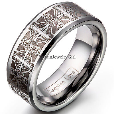 8mmTungsten Carbide Ring Comfort Fit Laser Etched Cross Men Jewelry Wedding Band ()