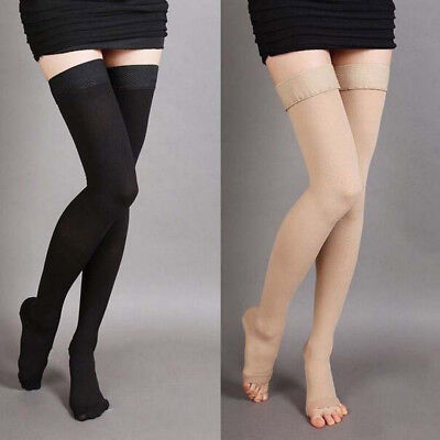Graduated Medical Compression Thigh High Support Stocking Open/Closed Toe Socks (Open Toe Thigh High Socks)