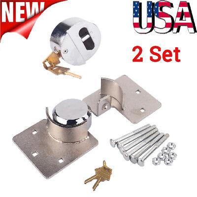 2 Set 73mm Steel Padlock Hasp Set For Security Door Garage Shed Van Lock W Keys