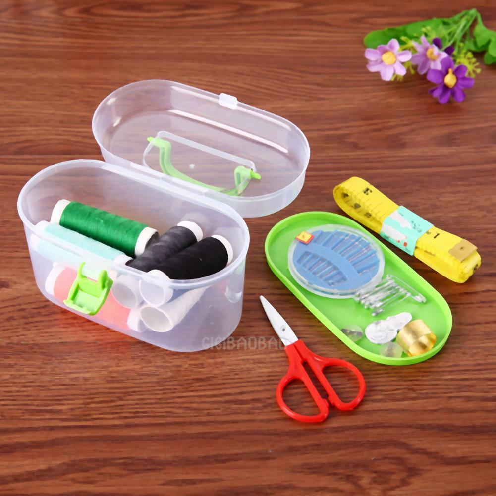 Dual Layer Sewing Kit Thread Threader Needle Tape Measure Scissor Storage Box