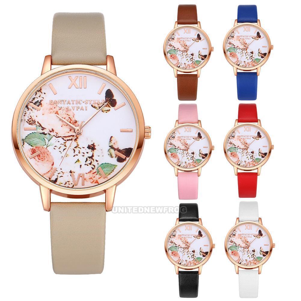 $2.59 - Luxury Women Leather Band Watch Fashion Ladies Quartz Analog Dress Wrist Watch