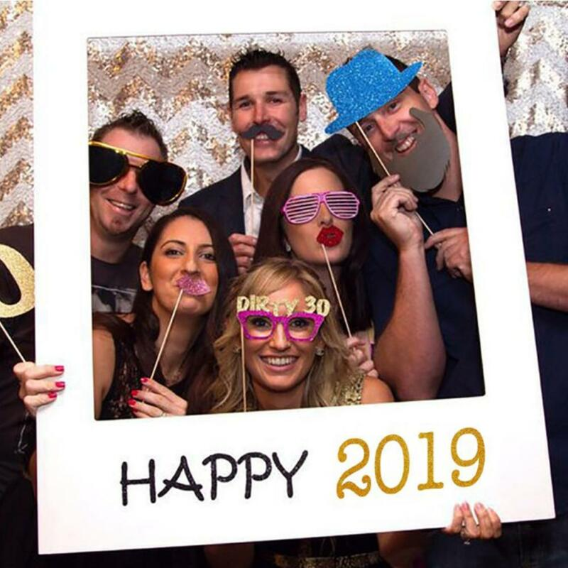 25PCS Paper Frame Glasses Beard Holiday Party Photo Props 2020 Happy New Year US
