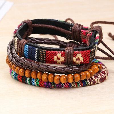 5PCS/Set Ethnic Bohemian Multilayer Wood Bead Rope Leather Hemp Braided Bracelet ()