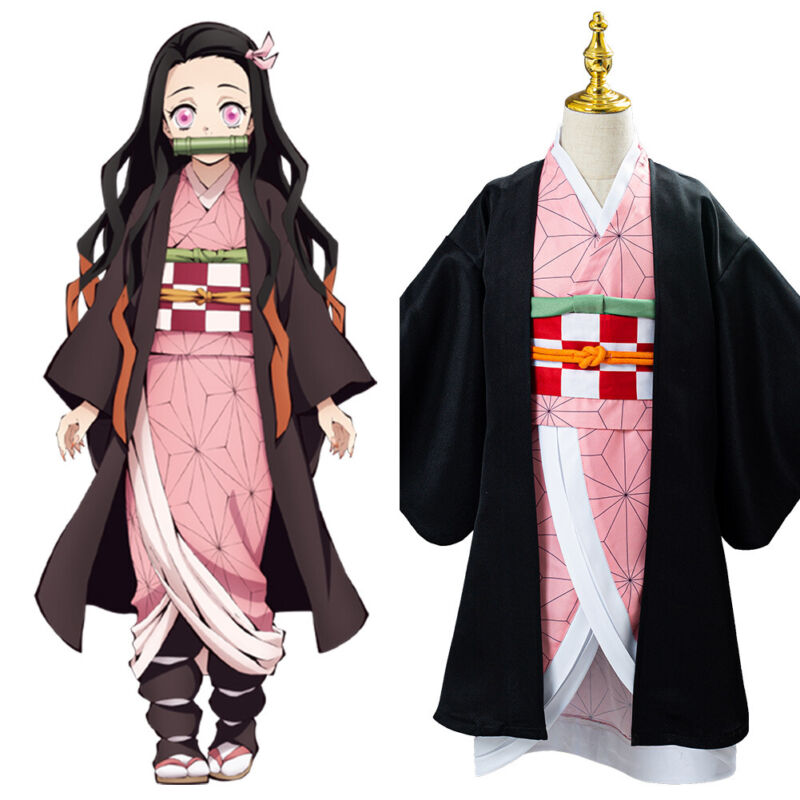 Kid's Demon Slayer Kimetsu no Yaiba Kamado Nezuko Cosplay Costume Full Set