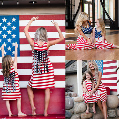 4th of July Family Clothes Mother Daughter Matching Stripes Flag Long Maxi Dress (4th Of July Dress)