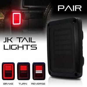 Jeep Wrangler JK LED Tail Lights Smoke Brake Reverse Turn Signal Rear 07-17 SAE