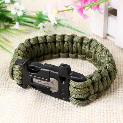 Survival Bracelet Compass Flint Fire Starter Whistle Scraper Gear Kits Paracord - Paracord Compass
