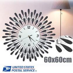 Modern Metal Large Art Digital Wall Clock Crystal Wall Living Room Home Decor US