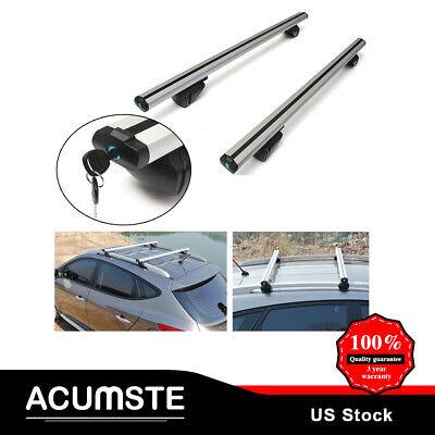 "Adjustable 48"" Car Top Luggage Roof Rack Cross Bar Carrier Window Frame W/Lock"