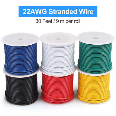30ftroll Electrical Wire 22 Gauge Stranded Core 22awg Copper Cable Tinned 6roll