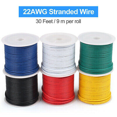 22awg Stranded Wire 6 Colors 30 Feet Each Electrical Tinned Copper Hookup Wire