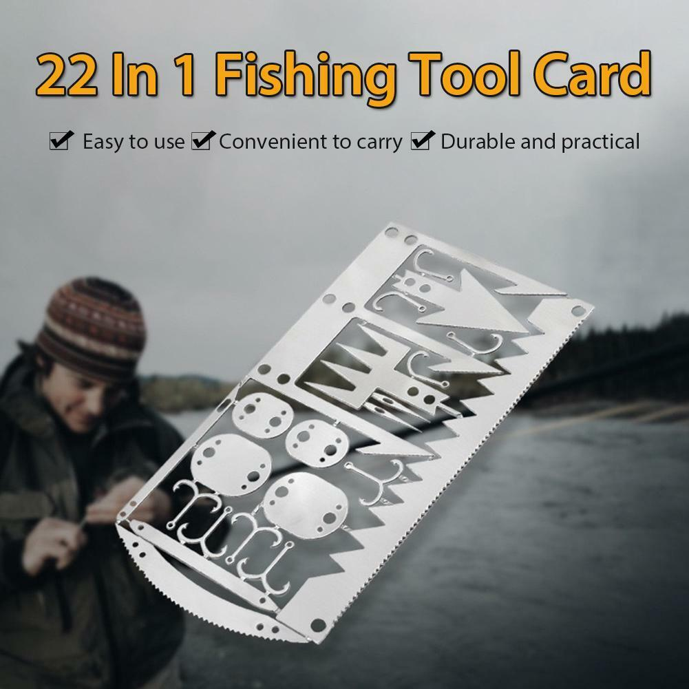 Multifunction Fishhook Survival Card Arrow Awl Needles Blades Hiking Camping