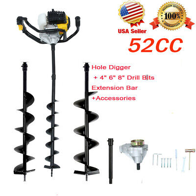Us 52cc 2-stroke Gasline Gas Powered Earth Auger Post Hole Digger 3 Drill Bits