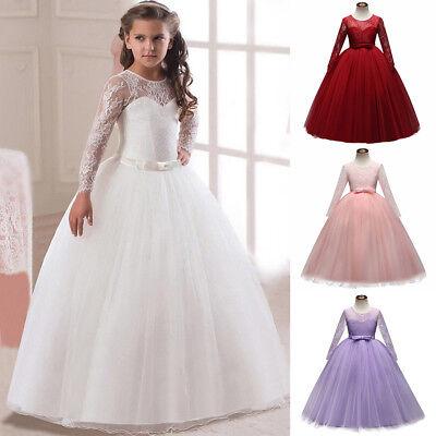 Blumenmädchen Kleid Spitze Lang Tüll Abendkleid für Kinder Hochzeit Brautjungfer ()