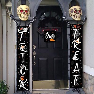 Indoor Halloween Decorations (3PC Trick or Treat Halloween Banner for Indoor/Outdoor Decor (72in x)