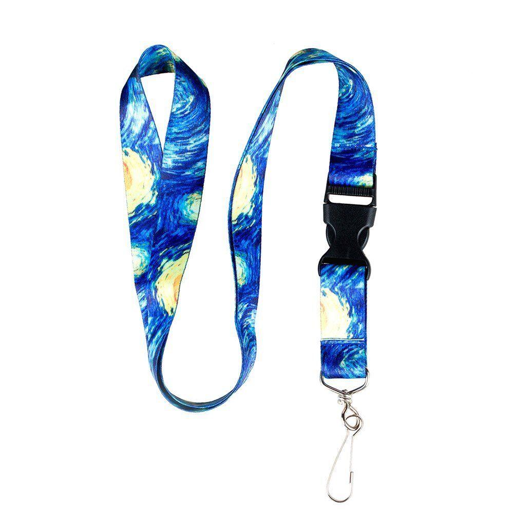 Starry Night ID Badge Lanyard Holder Neck Keychain Keys Lany