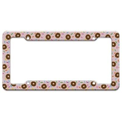 Cute Donut with Sprinkles Chocolate Icing License Plate Tag Frame