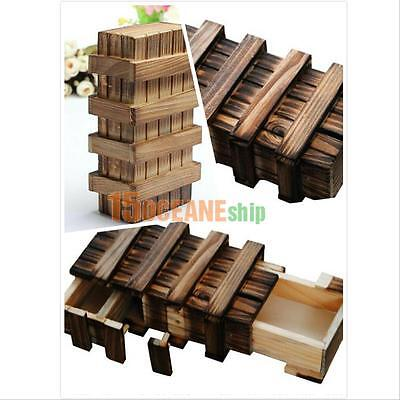 Chinese Vintage Classic Brain Magic Trick Wooden Puzzle Box Toy Gift Hide Drawer ()