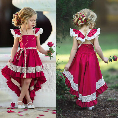 USA Kids Girls Party Bow Princess Dress Flower Wedding Bridesmaid Formal Dresses