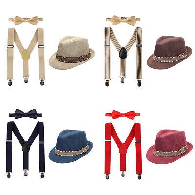 Kinder Baby Jungen Hut Hosenträger Fliege Gentleman Kostüm Fotoshooting Outfit (Hut Träger)